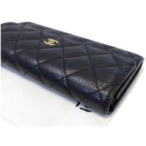 CHANEL Bags - CHANEL GUSSET FLAP CAVIAR WALLET BLACK